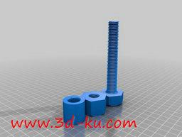 3D打印模型螺栓、 螺母和套筒的图片