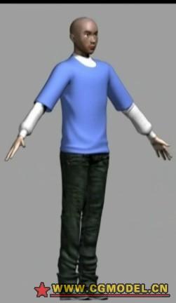 原创半写实角色两个,带骨骼3D模型的预览图1