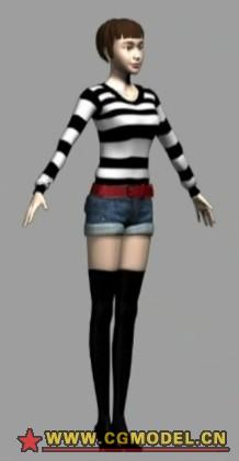 原创半写实角色两个,带骨骼3D模型的预览图2